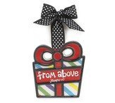 Wrapped Package Ornament, From Above, Small, James 1:7,