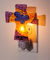 Glass Floral Cross Nightlight