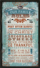 Our Family Rules Metal Framed Art