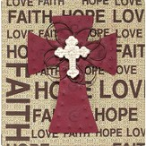Faith Hope Love Plaque, with Cross