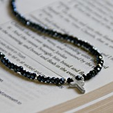 Cross Necklace with Black Beaded Crystals, Silver