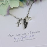Amazing Grace, Cross, Wing, Pearl Necklace