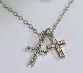 Amazing Grace, Two Crosses Necklace