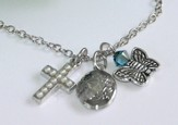 Amazing Grace, Cross, Locket, and Butterfly Necklace