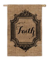 Faith, Burlap Flag, Large