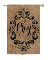 Pray, Burlap Flag, Large