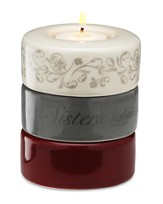 Stacking Candle, Sisters Lighten Our Hearts Burgundy