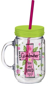 Grandmother, Mason Jar Insulated Cup, with Straw