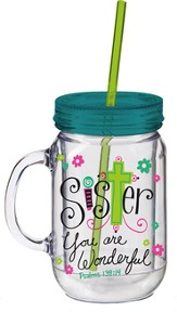 Sister, Mason Jar Insulated Cup, with Straw