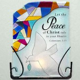 Let the Peace of Christ Glass Tea Light Holder