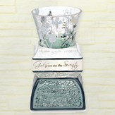 Serenity Prayer Crackled Glass and Ceramic Tea Light Holder