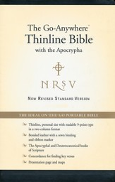 NRSV Go-Anywhere Personal-Size Thinline Bible with the Apocrypha--Bonded Leather, Black - Slightly Imperfect