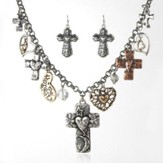 Crosses and Hearts Necklace and Earrings Set