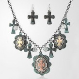 Assorted Crosses Necklace and Earrings Set