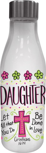 Daughter, Glass Water Bottle, with Metal Lid