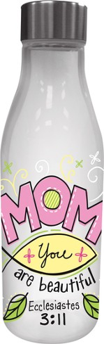 Mom, Glass Water Bottle, with Metal Lid