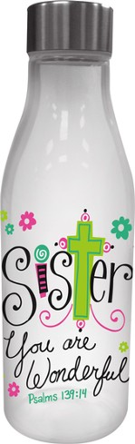 Sister, Glass Water Bottle, with Metal Lid
