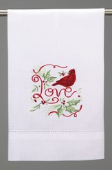 Christmas Guest Towel, Cardinal Love