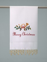 Christmas Guest Towel, Beaded, Merry Christmas