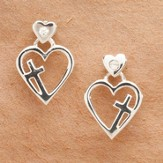 Floating Heart, Cross Earrings