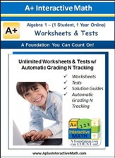 Math Worksheets & Tests with Automatic Grading N Tracking Grades 8 & 9 (Algebra 1; 1 Year Access)