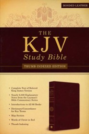 KJV Study Bible, Bonded leather, Burgundy, Indexed