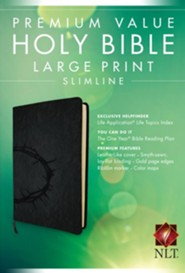 NLT Premium Value Slimline Bible Large Print, Imitiation Leather, Onyx with Crown of Thorns Design