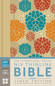 NIV Thinline Bible--clothbound hardcover with floral design