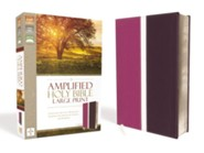 Amplified Large-Print Thinline Bible--soft leather-look, dark orchid/deep plum