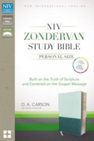 NIV Zondervan Study Bible, Personal Size, Imitation Leather, light blue/turquoise - indexed