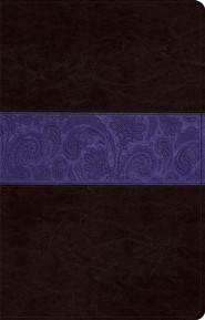 ESV Large Print Thinline Reference Bible, TruTone Imitation Leather, Brown/Plum, Paisley Design