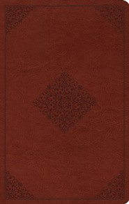 ESV Value Thinline Bible--soft leather-look, tan with ornament design