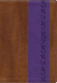 ESV Giant-Print Bible--soft leather-look, brown/purple with iris design