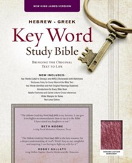 Hebrew-Greek Key Word Study Bible: New King James Version Genuine Leather Burgundy, Leather, real