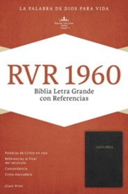 RVR 1960 Biblia Letra Grande con Referencias, negro imitaci&#243n piel con &#237ndice, RVR 1960 Giant Print Reference Bible, Black Imitation Leather, Thumb-Indexed