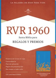 RVR 1960 Biblia para Regalos y Premios, azul oc&#233ano y papaya s&#237mil piel, RVR 1960 Gift and Award Bible, Ocean Blue and Papaya LeatherTouch