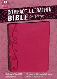 HCSB Compact Ultrathin Bible for Teens--soft leather-look, fuchsia