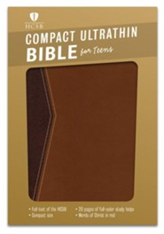 HCSB Compact Ultrathin Bible for Teens--soft leather-look, walnut