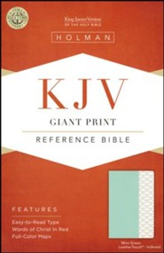 KJV Giant-Print Reference Bible--soft leather-look, mint green (indexed)