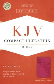 KJV Compact Ultrathin Bible, Pink LeatherTouch, Thumb-Indexed