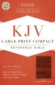 KJV Large Print Compact Reference Bible, Brown Cross LeatherTouch, Thumb-Indexed