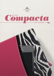 RVR 1960 Biblia Compacta letra Grande con Referencias, fucsia y cebra con cierre simil piel, RVR 1960 Compact Quick Reference Bible--soft leather-look, pink/zebra with zipper