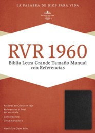 RVR 1960 Biblia Letra Grande Tamaoo Manual con Referencias, negro piel fabricada con indice, RVR Hand-Size Giant-Print Reference Bible--bonded leather, black (indexed)
