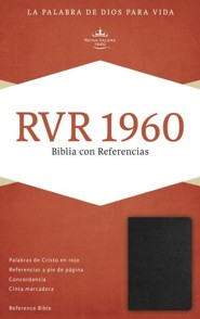 RVR 1960 Biblia con Referencias, negro piel fabricada con indice, RVR 1960 Reference Bible--bonded leather, black (indexed)