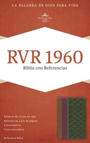 RVR 1960 Biblia con Referencias, chocolate y ciruela y verde jade simil piel, RVR 1960 Reference Bible--soft leather-look, brown/plum/jade