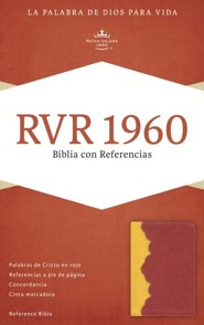RVR 1960 Reference Bible--soft leather-look, amber/brick red