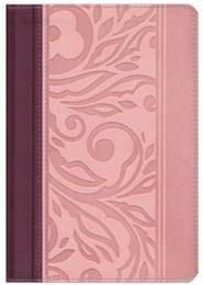 RVR 1960 Biblia Letra Grande Tamaoo Manual con Referencias, borravino y rosado simil piel, RVR 1960 Hand-Size Giant-Print Reference Bible--soft leather-look, blush/wine
