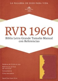 RVR 1960 Biblia Letra Grande Tamaoo Manual con Referencias, <\#225>mbar y rojo ladrillo simil piel, RVR 1960 Hand-Size Giant-Print Reference Bible--soft leather-look, amber/brick red