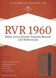 RVR 1960 Biblia Letra Grande Tamaoo Manual con Referencias, cobre y marron profundo simil piel, RVR 1960 Hand-Size Giant-Print Reference Bible--soft leather-look, copper/dark brown