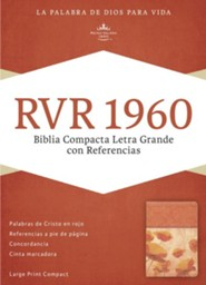 RVR 1960 Biblia Compacta Letra Grande con Referencias, damasco y coral simil piel, RVR 1960 Large-Print Compact Quick Reference Bible--soft leather-look, damask/coral